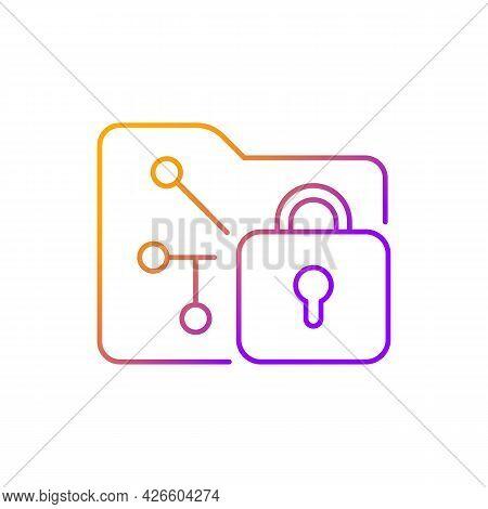 Data Encryption Gradient Linear Vector Icon. Transforming Data Into Encoded Information. Unreadable