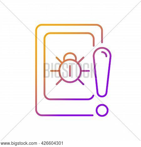 Cell Phone Bugging Gradient Linear Vector Icon. Tracking Mobile Device Secretly. Smartphone Surveill