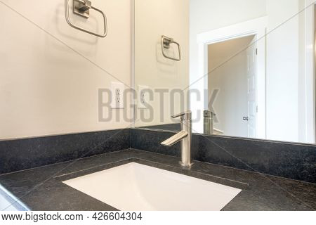 Bathroom Sink With Granite Countertop And Single Faucet