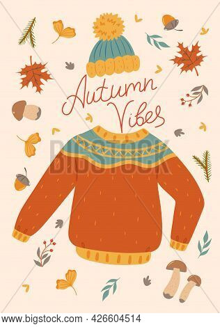 Autumn Card With A Sweater And A Hat. Vector Image.