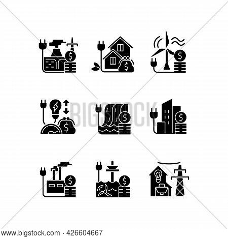 Energy Prices Black Glyph Icons Set On White Space. Hydropower, Wind Power Production Cost. Financia