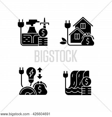 Electrical Power Black Glyph Icons Set On White Space. Geothermal Energy Purchase. Green Pricing Pro
