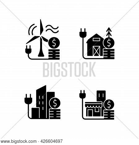 Electricity Black Glyph Icons Set On White Space. Wind Energy Financial Expense. Rural Area Utility