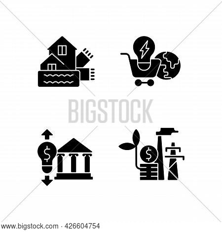 Renewable Electrical Energy Black Glyph Icons Set On White Space. Weatherization Of House. Global Ma