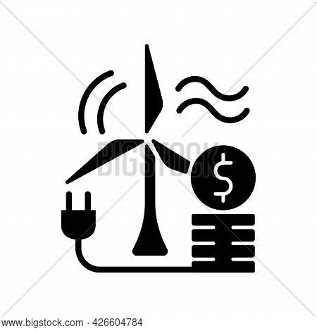 Wind Energy Price Black Glyph Icon. Windmill For Generating Alternative Renewable Power. Sustainable