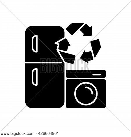 Appliance Recycling Program Black Glyph Icon. Household Electrical Waste Collection For Reuse. Indus