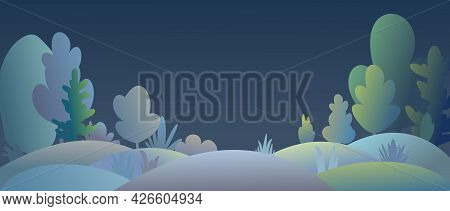 Flat Forest. Night Landscape With Trees. Illustration In A Simple Symbolic Style. Hills. A Funny Gre