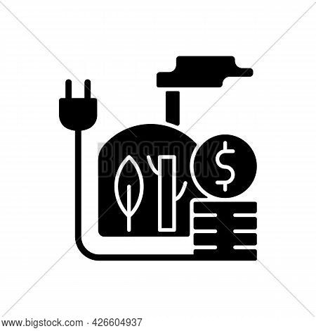 Biomass Energy Price Black Glyph Icon. Sustainable Power Consumption Cost. Renewable Source Of Elect