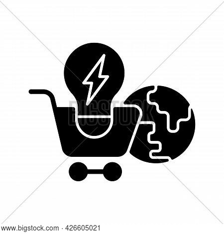 Global Energy Markets Black Glyph Icon. International Power Supply. Efficient Consumption Of Electri