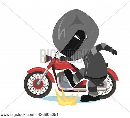 Biker Cartoon. Child Illustration. Sports Uniform And Helmet. Cool Motorcycle. Chopper Bike. Funny M