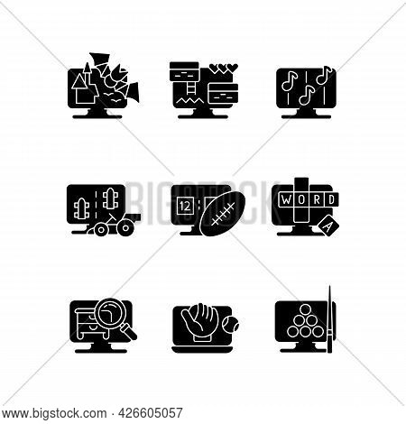 Online Simulators Black Glyph Icons Set On White Space. Playing Cooperative Games With Friends Or Fa