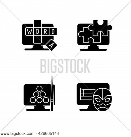 Intellectual Game Types Black Glyph Icons Set On White Space. Online Word Guessing Game. Jigsaw Puzz