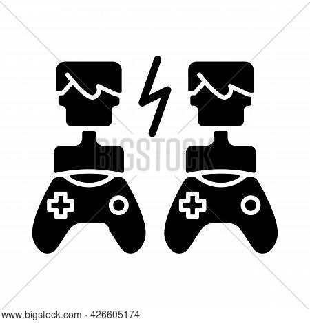 Player Versus Player Games Black Glyph Icon. Users Compete Against Each Other. Fun Friends And Famil