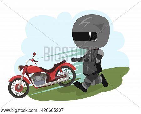 Biker Cartoon. Child Illustration. The Bike Escaped. Sports Uniform And Helmet. Cool Motorcycle. Cho