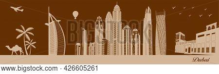 Vector City Skyline Silhouette - Illustration,  Town In Walnut Background,  Dubai Uae