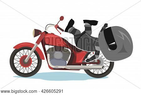 Biker Cartoon. Child Illustration. Fell. Sports Uniform And Helmet. Cool Motorcycle. Chopper Bike. F