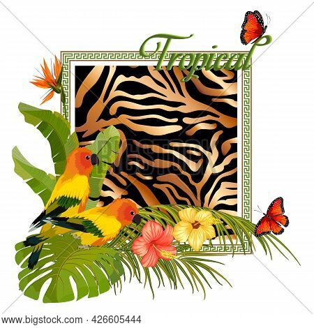 Abstract Colored Background With Parrots.multicolored Parrots And Tropical Vegetation On An Abstract