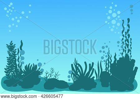 Bottom Of Reservoir With Fish. Silhouette. Blue Water. Sea Ocean. Underwater Landscape With Plants,