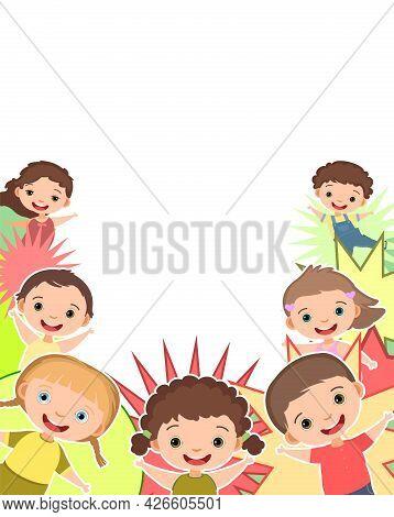 Children Are Joy. Frame. Happy Childhood. Little Boys And Girls. Kid Are Having Fun. Nice Kid. Carto