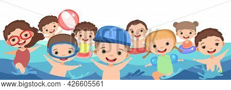 Children Fun And Splashing In Water. Waves. Swimming, Diving And Water Sports. Pool Or Beach. Isolat