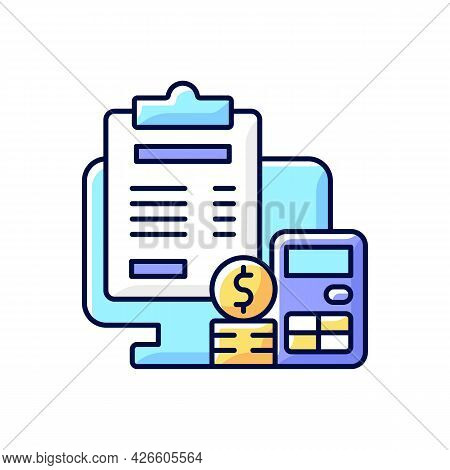 Invoicing Rgb Color Icon. Cost Management For Business. Financial Document. Professional Accounting