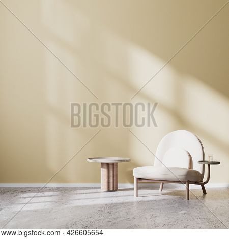Beige Armchair And Coffee Table With Beige Wall And Concrete Floor, Scandinavian Style Living Room I