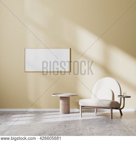 Horizontal Frame Mock Up In Modern Living Room Interior With Beige Armchair And Coffee Table With Be