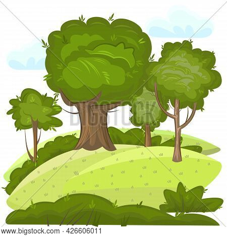 Green Rural Landscape With Trees. Meadows And Hills. Flat Cartoon Style. The Illustration Is Isolate