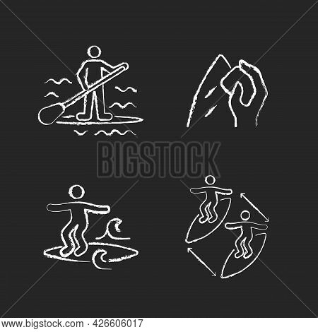 Riding Waves In Ocean Chalk White Icons Set On Dark Background. Paddle Board Surfing. Surfboard Wax.