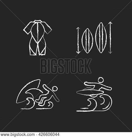 Surf Riding Chalk White Icons Set On Dark Background. Wetsuit. Choosing Surfboard Size. Surf Wipeout