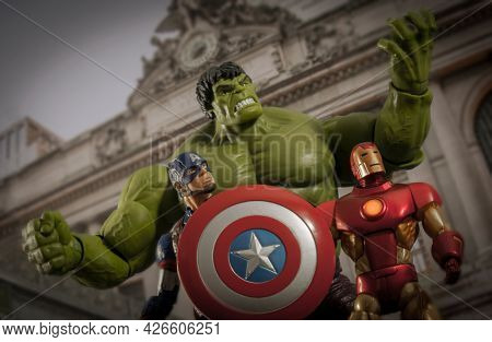 JUNE 12 2021: Scene from Marvel's The Avengers with the Hulk, Captain America and Iron Man - Hasbro action figure