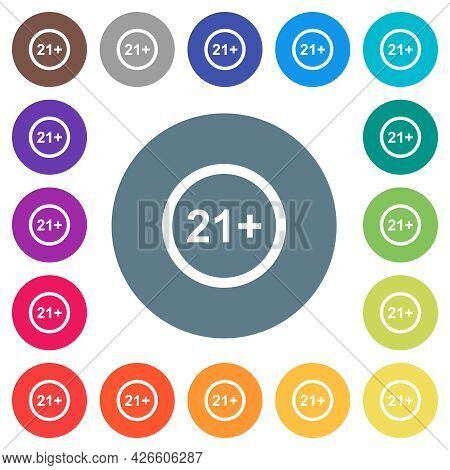 Allowed Above 21 Years Only Flat White Icons On Round Color Backgrounds. 17 Background Color Variati