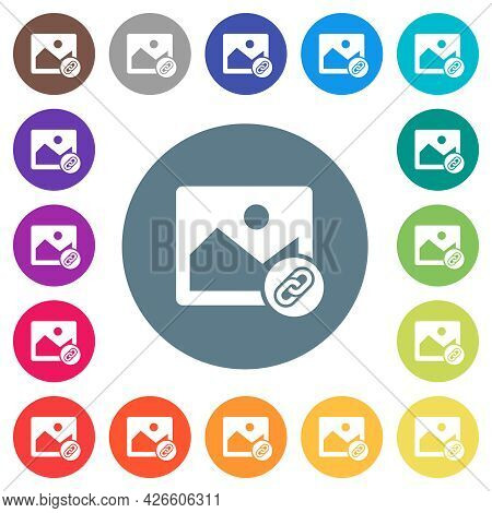 Link Image Flat White Icons On Round Color Backgrounds. 17 Background Color Variations Are Included.