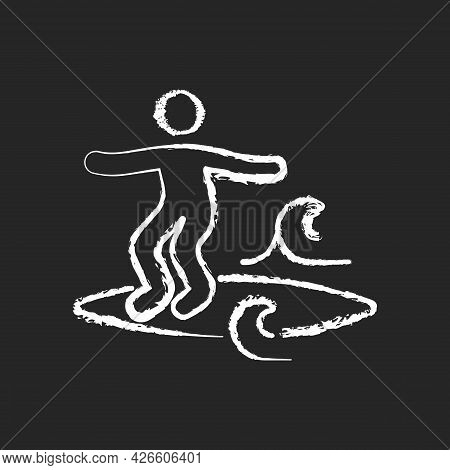 Noseriding Surfing Technique Chalk White Icon On Dark Background. Performing Maneuver On Head-high W