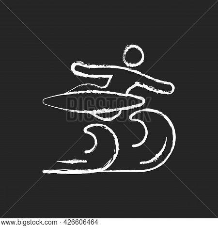 Air Surfing Technique Chalk White Icon On Dark Background. Flight Maneuver. Flying Above Wave. Aeria