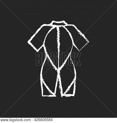 Wetsuit Chalk White Icon On Dark Background. Special Suit For Spending Time In Water. Keep Warmth. M