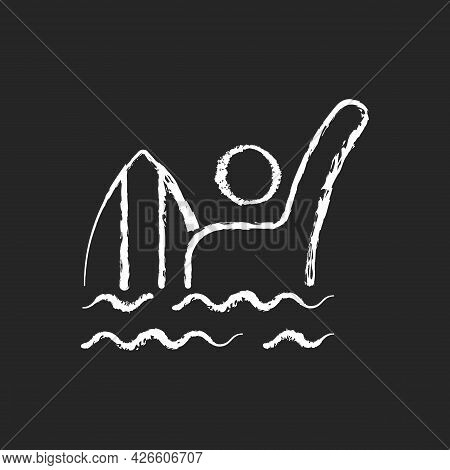Emergency Signal For Drowning Chalk White Icon On Dark Background. Waving One Straight Arm Above Hea