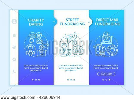 Philanthropic Activities Onboarding Vector Template. Responsive Mobile Website With Icons. Web Page