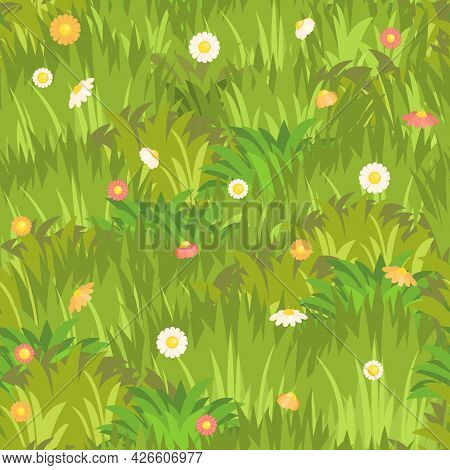 Seamless Pattern. Meadow With Dense Grass And Flowers Close-up. Wild Green Rural Plants. Cartoon Sty