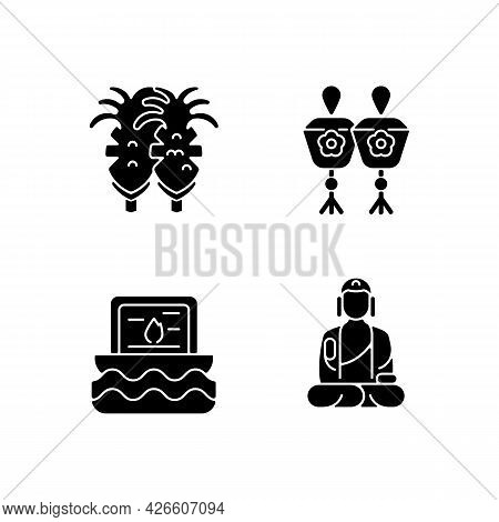 Taiwanese Culture Black Glyph Icons Set On White Space. Fried Squid. Taiwan Mini Sky And Water Lante