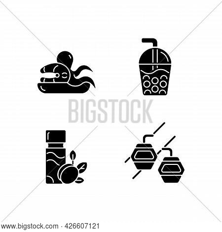 Taiwan Entertainment Black Glyph Icons Set On White Space. Asian Holidays. Bubble Tea Drink. Seafood