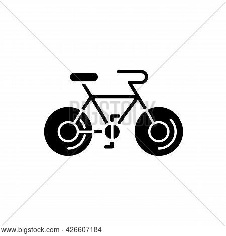 Bicycle Black Glyph Icon. Silhouette Symbol On White Space. Taiwan Cycling Travel. Riding Round Enti