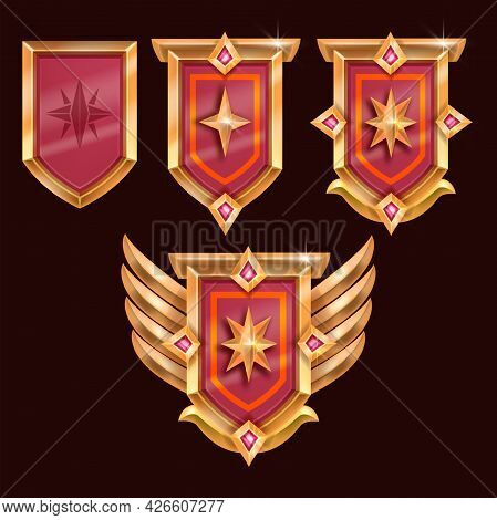 Game Badge Vector Icon, Rank Award Medal, Vector Achievement Shield, Golden Wings, Red Crystal, Star