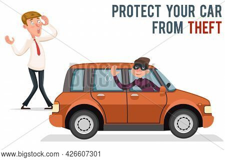 Car Thief Steal Automobile Robber Robbery Purse Character Isolated Cartoon Icon Design Vector Illust