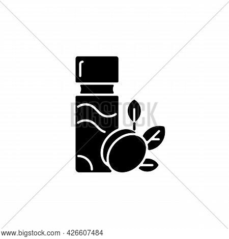 Plum Wine Black Glyph Icon. Sugar Alcohol Green Plum Liqueur. Taiwanese Traditional Alcohol Drink. A