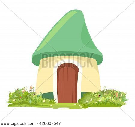 Fabulous Funny House In Clearing. Grass Meadow. Beautiful Cartoon Landscape Illustration. Green Roof