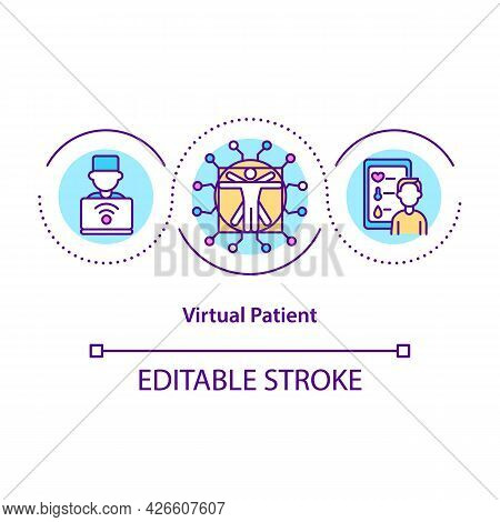 Virtual Patient Concept Icon. Personalized Models For Patients. Smart Computer Systems. Digital Twin