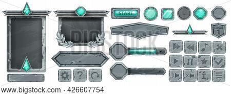 Stone Ui Game Button Set, Rock Vector Frame, Gray Boulder Sign Board, Green Crystal, Icon Collection