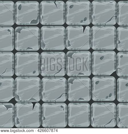 Ancient Stone Pavement Seamless Pattern, Cracked Gray Rock Tiles Texture, Medieval Vector Wall Backg