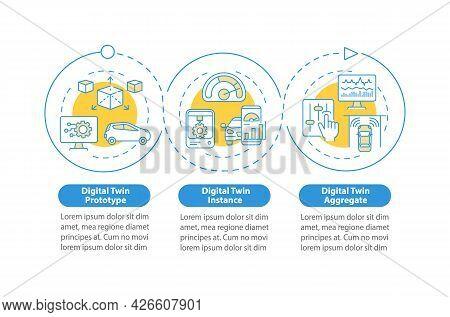 Digital Twin Variety Vector Infographic Template. Digital Instance Presentation Outline Design Eleme